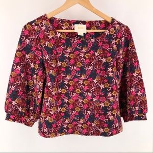 "Anthropologie Maeve Floral Crop 3/4"" Length Top SP"